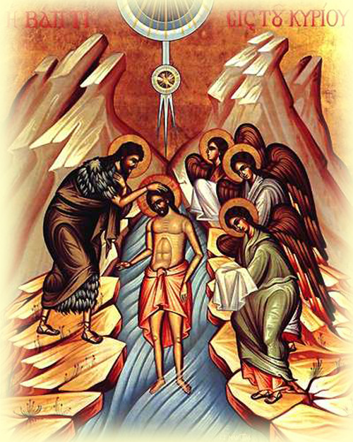 Baptism of Christ Theophany Old Orthodox icon