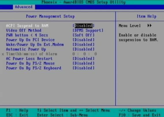 BIOS ACPI Disable power Off Phoenix BIOS