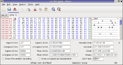 Bless GUI hex editor Debian Linux tabs opened screenshot