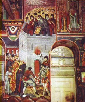 burning-of-26-bulgarian-martyrs-on-holy-mount-athos-zographou-monastery-by-the-crusaders roman catholiclatins