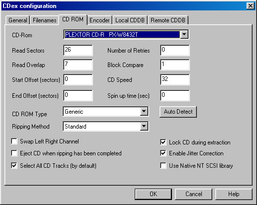 cdex configuration options screeshot windows xp