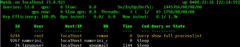 CentOS Linux MyTOP MySQL query benchmark screenshot - vpopmail query