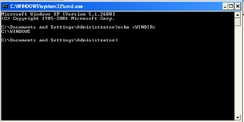 Check real windows directory location %WINDIR% screenshot