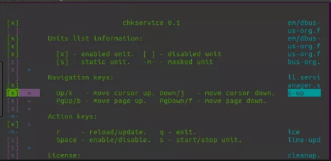 chkservice linux help screen