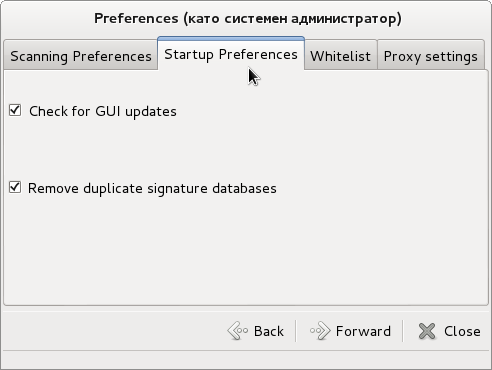 clamtk desktop linux free antivirus startup preferences