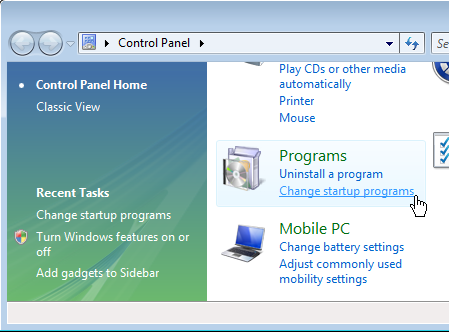 Control Panel Programs Add / Remove Programs on Windows Vista / 7 Start-up