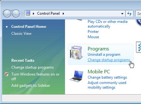 Control Panel Programs Add / Remove Programs on Windows Vista / 7 Start-up