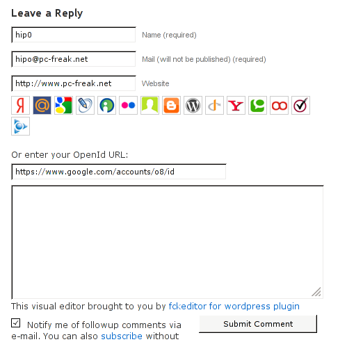 Comments with OpenID screenshot