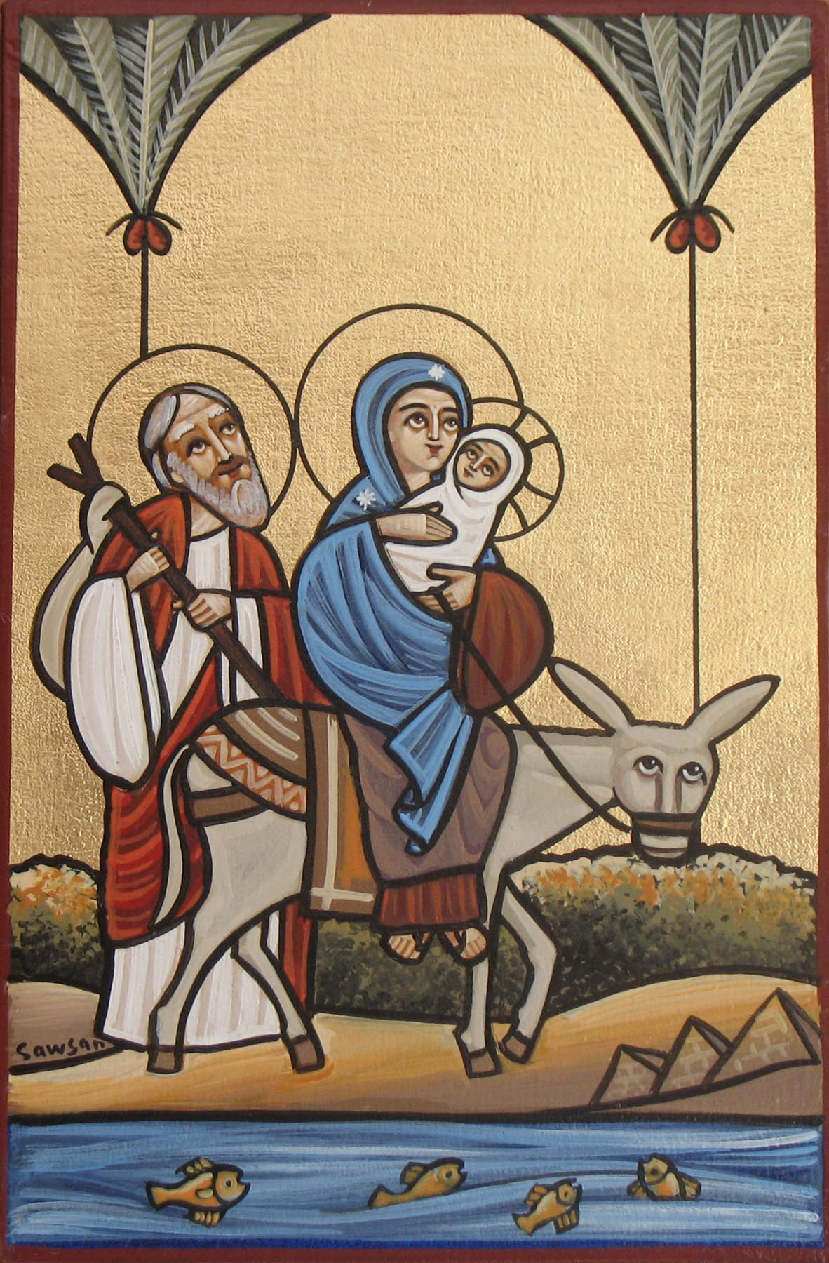 Holy Family Flight into Egypt Coptic Orthodox Icon