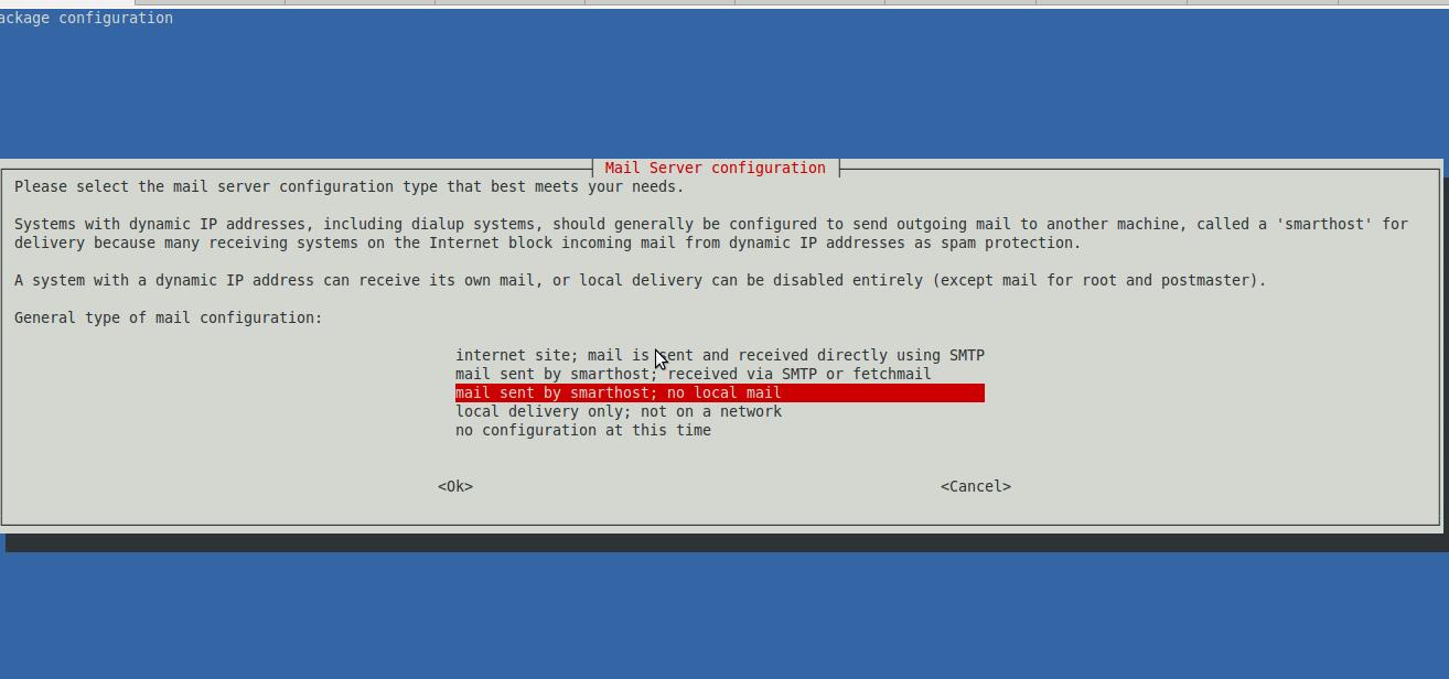 Debian Exim relay smtp config screenshot