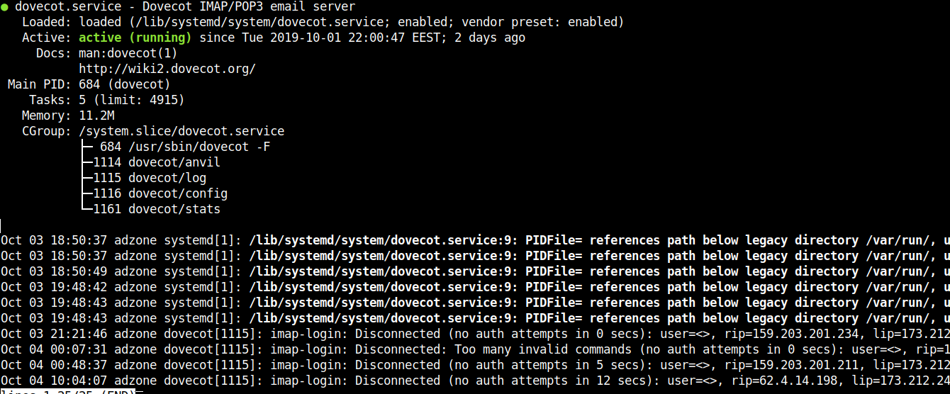 dovecot-imap-mail-service-status-screenshot-debian-linux