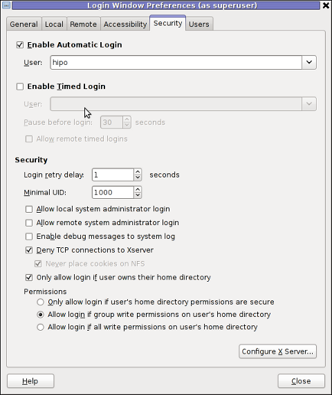 enable GNOME automatic login using gdm, gdmsetup screenshot