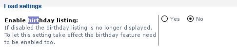 Enable birthday listing phpbb forum screenshot