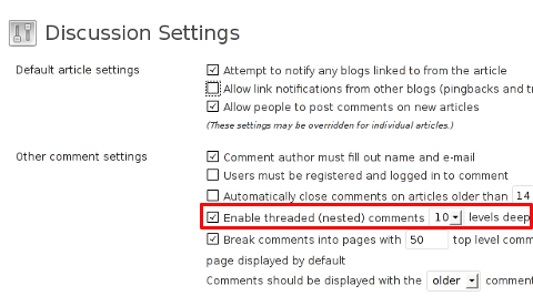 Enable Nested Comments WordPress default wp comments enable reply functionality screenshot