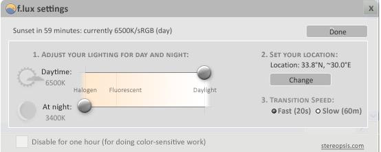 f.lux settings improve night sleep auto set monitor gamma ms windows xp