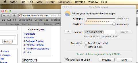 F.lux screenshot on Mac OS X Lion improve night sleep insomnia