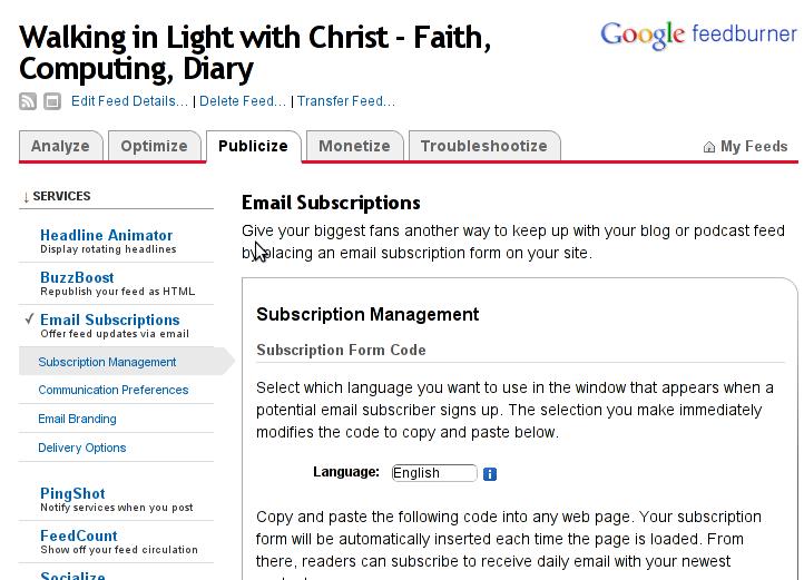 Feedburner Email subscription box management screenshot 1