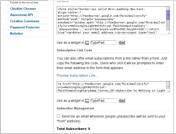 Feedburner Email subscription box management screenshot 2