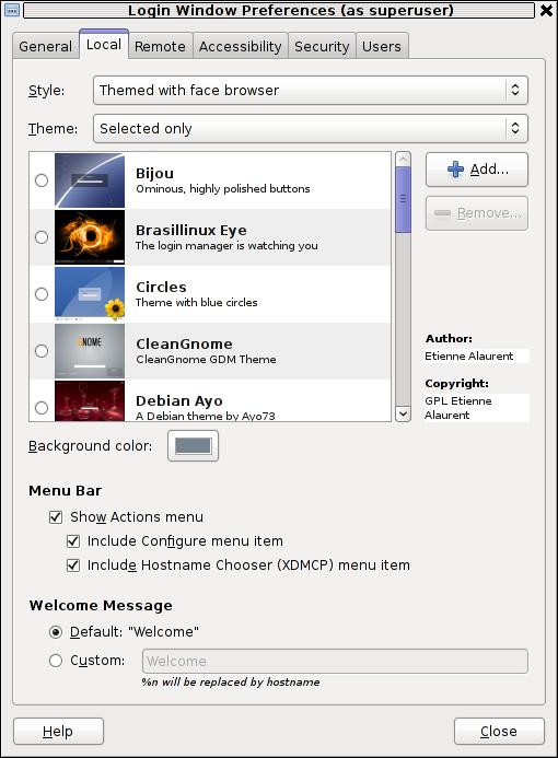 GDMSetup Debian Linux screenshot