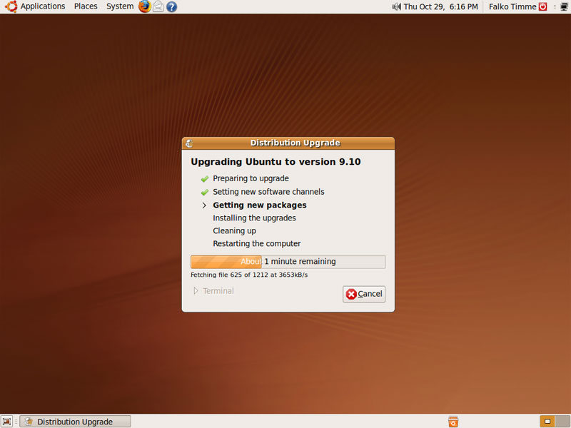 Getting new packages screen Ubuntu Update procedure