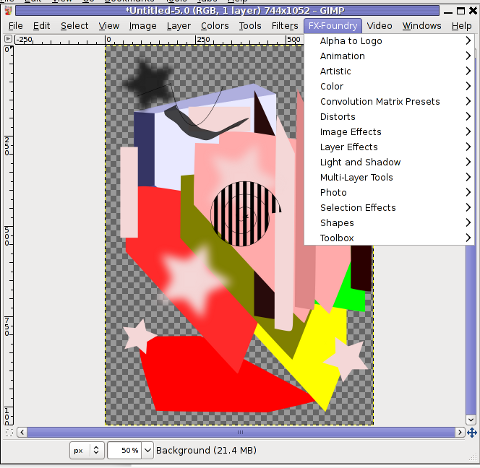 GIMP Screenshot GNU Linux Debian additional FX Foundry menu