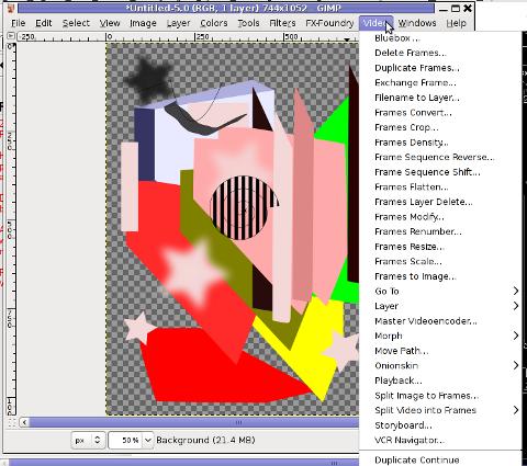 GIMP Screenshot GNU Debian linux adding GIMP extra Video editting capabilities