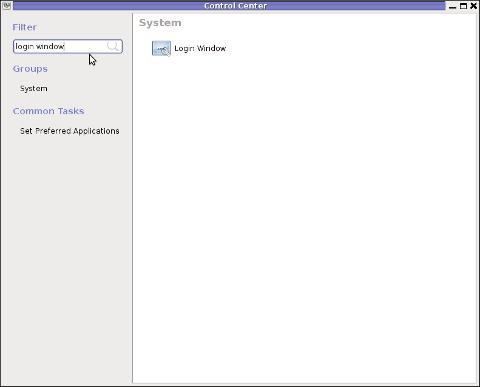 GNOME control center login Window Debian GNU/ Linux