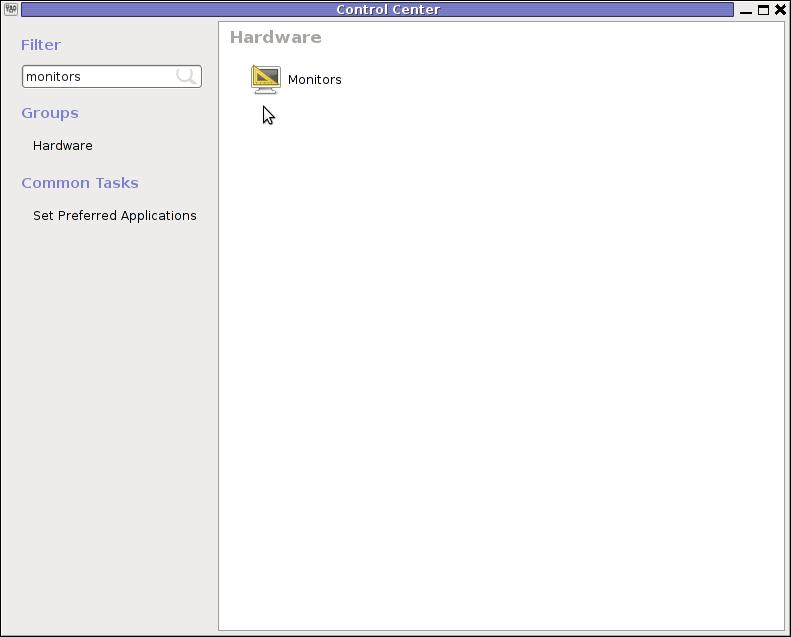 GNOME Control Center search Monitors menu debian GNU / Linux