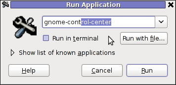 GNOME run application Dialog GNOME Control Center cmd debian GNU / Linux
