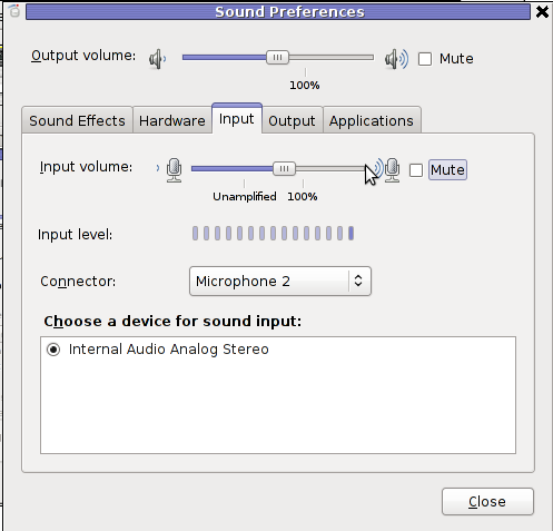 GNOME sound preferences unmute mic linux