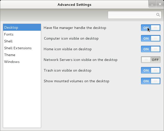 gnome-tweak-tool Debian wheezy/Sid GNU Linux screenshot handle desktop on