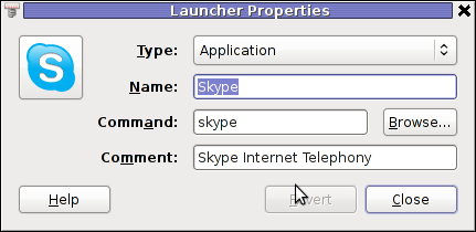 GNOME2 Skype screenshot Launcher properties
