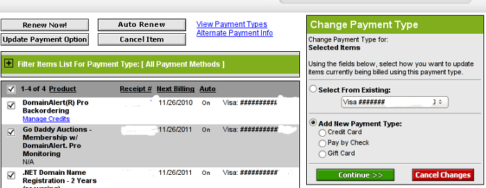 Change Payment Type Godaddy Menu