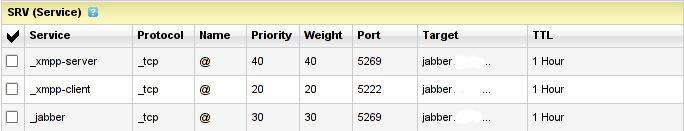 GoDaddy DNS SRV records screenshot