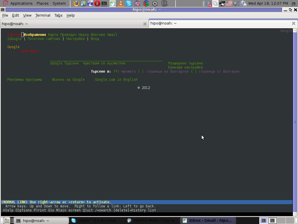Google in Bulgarian Lynx browser screenshot