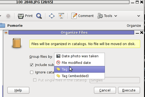 GTHUMB organize files Debian cropped screenshot