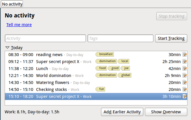 Hamster time-tracker linux task manager application