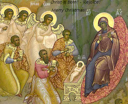 Nativity of Christ Orthodox Icon with Merry Christmas greeting!, Happy Christ Birth