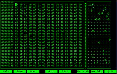 Hexcurse Debian Linux text binary editor screenshot