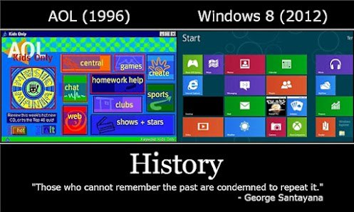 history from aol to windows mobile phones OS  history of IT is repeating itself or where Windows OS stole their interface from :)