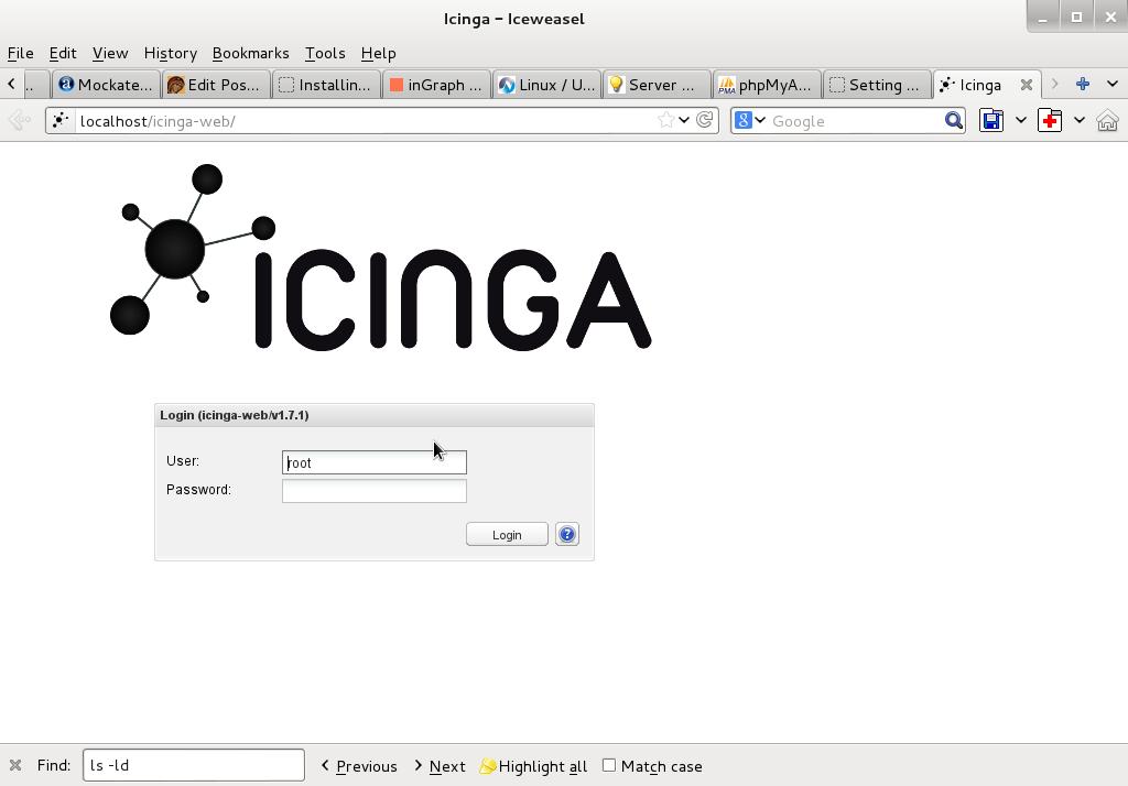 icinga web login screen in browser debian gnu linux