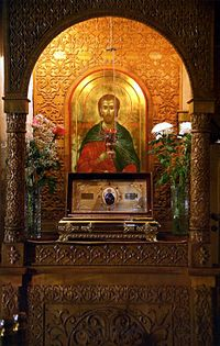 Icon of Orthodox Christian Saint Abraham of Bulgaria and his Holy Relics