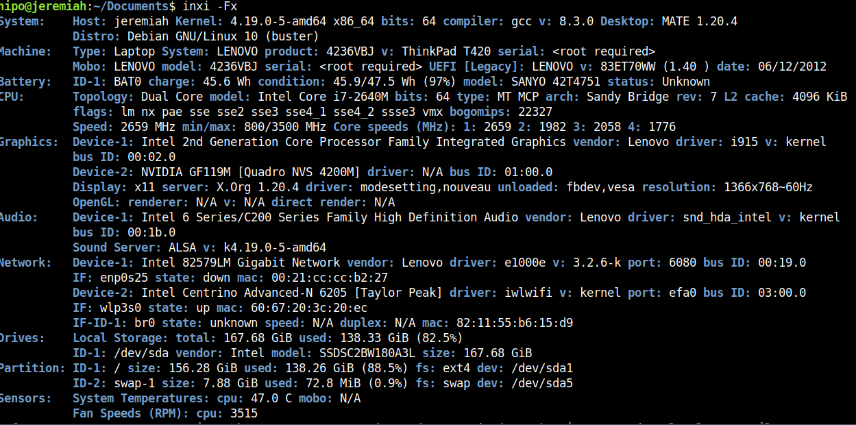 inxi-report-on-installed-hardware-on-my-lenovo-thinkpad-home-laptop