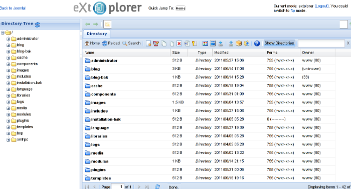 Joomla file explorer extplorer module