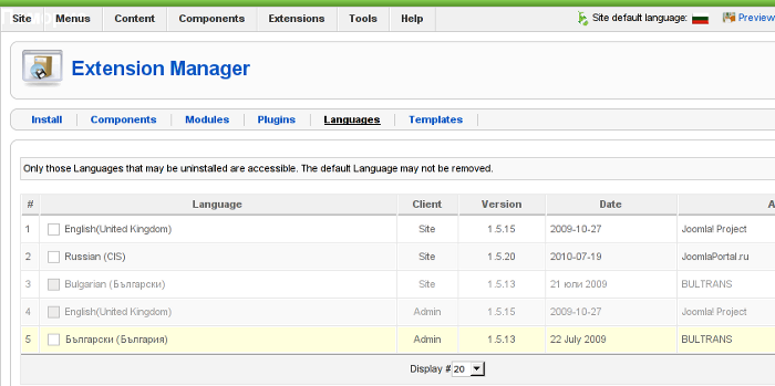 Screenshot of my installed list of Joomla Language packs