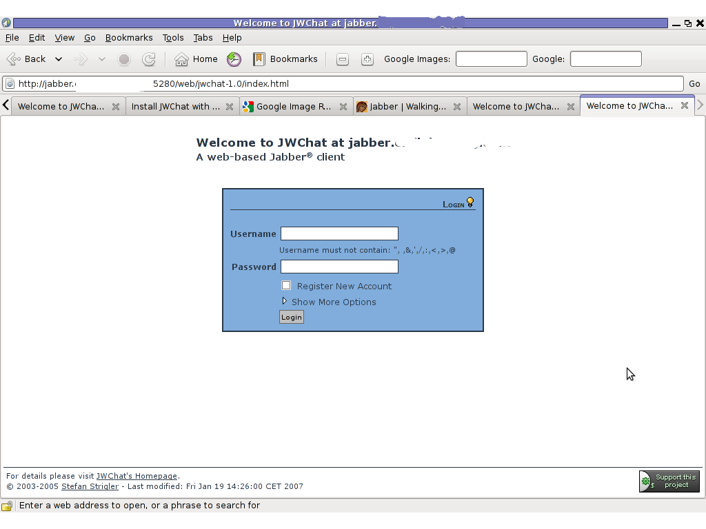 JWChat Ejabber webchat Epiphany Linux screenshot