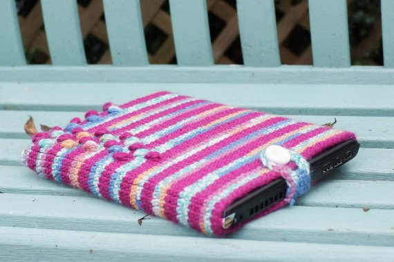 notebook laptop in knitted hand made case