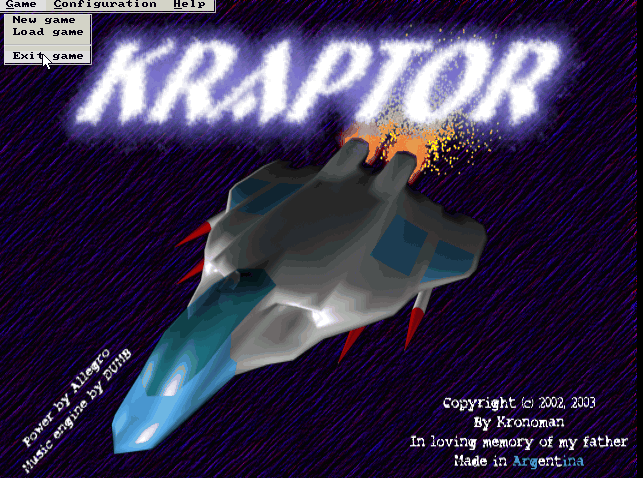 KRaptor main menu game screenshot Linux Debian Squeeze