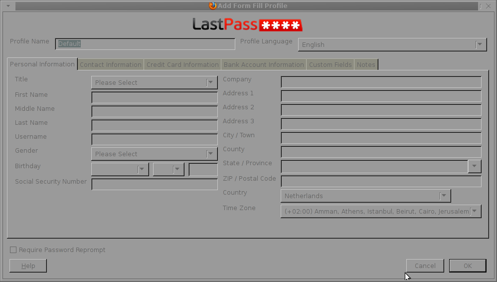 Configure automatic form filling about bank accounts, credit card information  etc. LastPass Mozilla Firefox