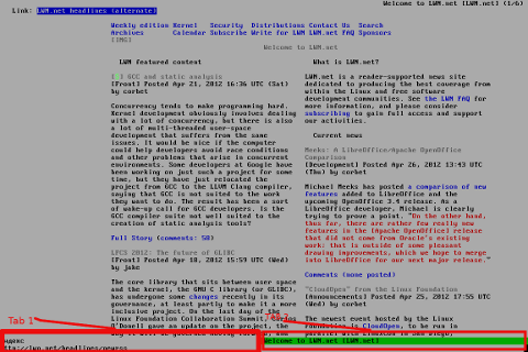 Links text console browser screenshot with 2 tabs opened Debian GNU / Linux